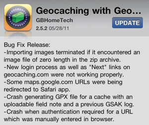 Geocaching with Geosphere 2.5.2