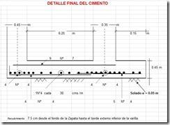 Dimensiones y esquema de aceros de la cimentación combinada