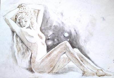 Printesa nud pictura facuta cu cafea