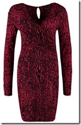 French Connection Red Leopard Print Jersey Fixed Wrap Dress