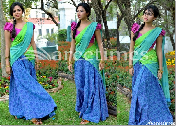 Amala_Paul_Green_Blue_Half_Saree