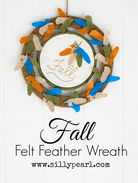 Fall Felt Feather Wreath - The Silly Pearl