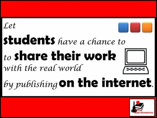 Let students have a chance to share their work with real world by publishing on the internet.  Tips from Raki's Rad Resources.