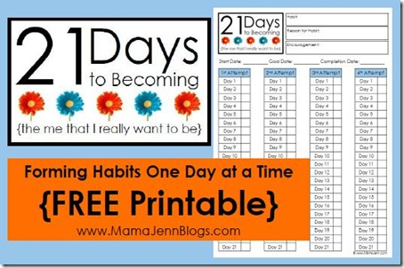 21 Days to Becoming: Habit Forming Printable