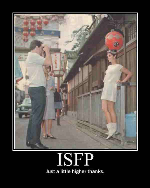 infp dating isfp The isfp is a person of few words, intensely loyal to friends and family and the causes for which they stand - although this manifests itself much more in deeds than.