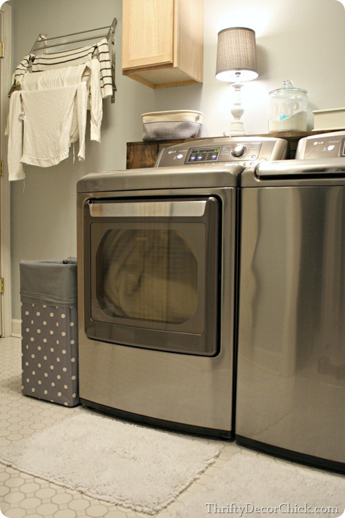 light gray and white laundry