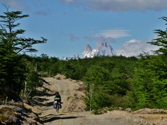 We could even ride some parts of the 4x4 track on the Chilean side.  Always with a view of Fitz Roy.