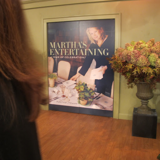 The entrance doors to the TV set were decorated like the cover of Martha's book. Stunning!