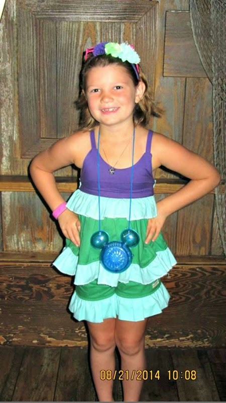 Isabel at Disney in custom ariel outfit tank and shorts by Daydream Believers