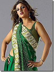 rambha in green saree