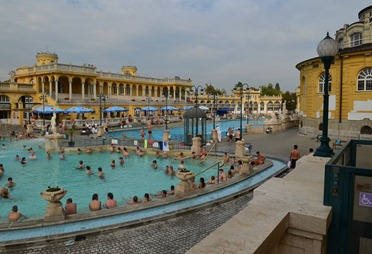 view from the terrace  at the Szechenyi Baths