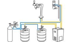 Схема розлива пива с подстоечным охладителем