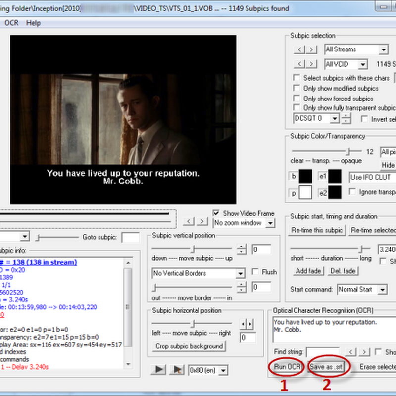DVDSubEdit Extracts Subtitles from DVD and Saves as SRT