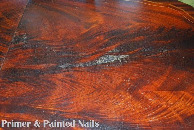 Kitchen Table Before Up Close - Primer & Painted Nails