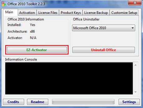 Aba Main - Clique em EZ-Activator
