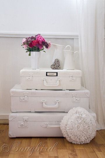 Painted White Suitcases 2