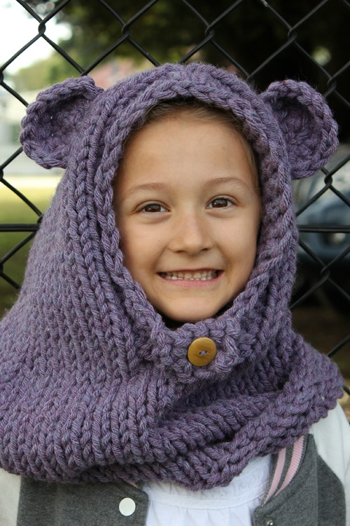 Miss J wearing burton bear cowl