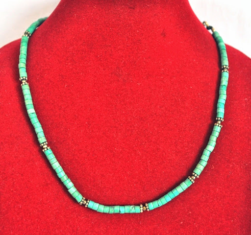 Turquoise coral stone necklace