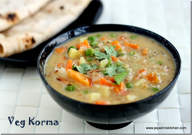 MIXED VEGETABLE KURMA| VEGTABLE KORMA |SIDE DISH FOR ROTI ...