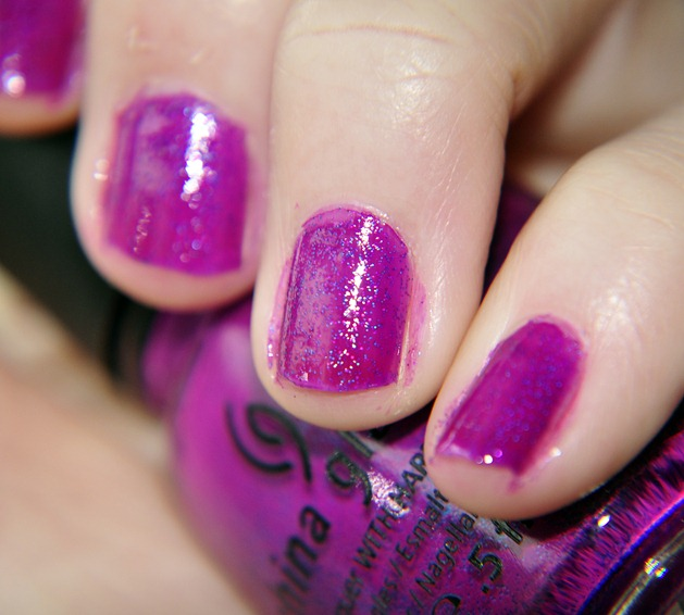 china glaze flying dragon neon nail polish notd purple glitter