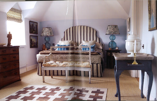 The bedside lamps are from Yeoward's collection. I love the way he worked around the sloping ceiling in this room.