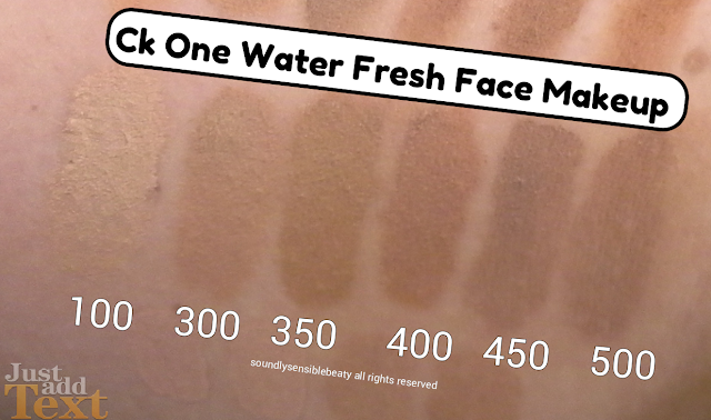 Ck One Color, Water Fresh Face Makeup (Cream Compact Foundation); Review & Swatches of Shades 100 Porcelain, 300 Sand, 350 Beige, 400 Bisque, 450 Golden, 500 Tan