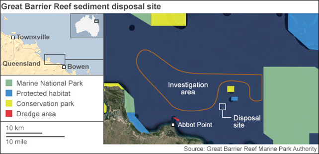 Great Barrier Reef sediment disposal site. Australian authorities have approved a project to dump dredged sediment in the Great Barrier Reef marine park as part of a project to create one of the world's biggest coal ports. Graphic: Great Barrier Reef Marine Park Authority