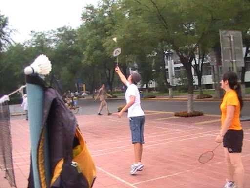 Park had poles. Players bring their own net. Court lines on block surface. Erik reaches for a shot.