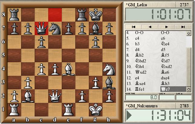 Nakamura vs Leko, round 3, 14...Qc7