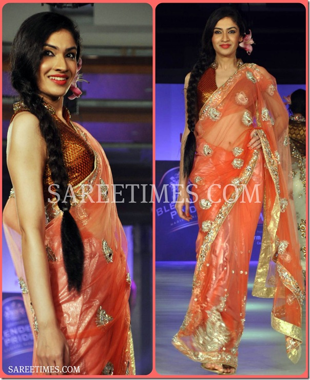 Orange_Designer_Shimmer_Saree