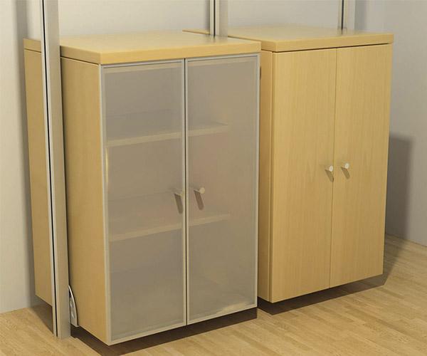 Armario con puertas de marco de aluminio con cristal, Armario con puertas de madera de maple o melamina.