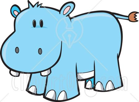 Royalty-free animal clipart picture of a happy buck toothed blue hippo ...