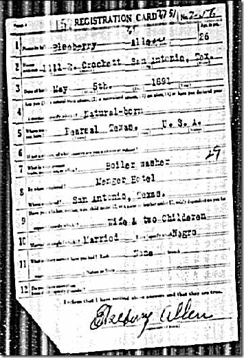 World War I draft registration card for Elseberry Allen of San Antonio, Texas on Ancestry.com