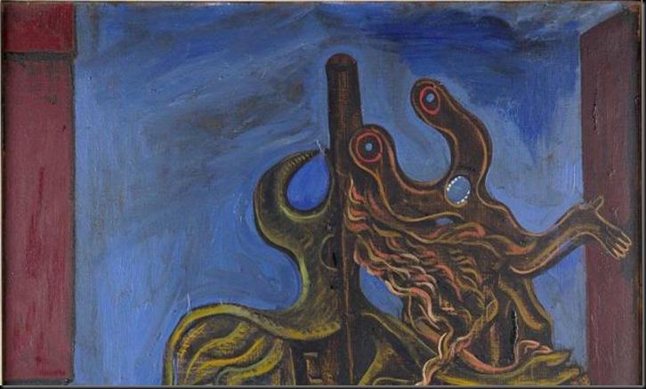 Max Ernst, Le Chasseur, 1926 olio su tela, 100 x 81 cm collezione Musée d'Ixelles, Bruxelles, Legs Max Janlet, 1977 © SABAM Belgium 2013, photo Mixed Media