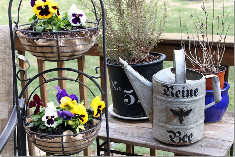 Pansies and Bee Watering Can