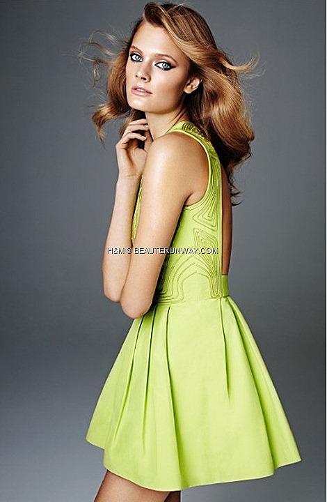H&M SPRING 2012 CONSCIOUS COLLECTION EXCLUSIVE GLAMOUR KRISTIN DAVIS PLEAT MINI DRESS apple green embroidered organic cotton