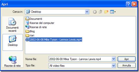 Desktop Movies selezione video da riprodurre