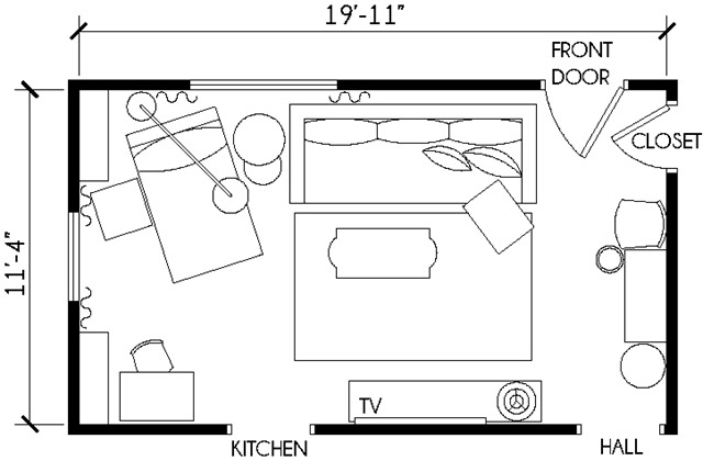 Working with a long narrow living room emily a clark for Small living room floor plan