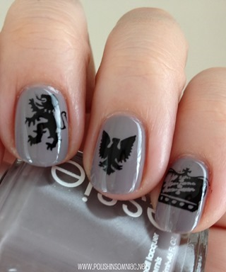 MoYou Stamping on Essie Chinchilly