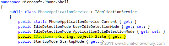 Code Snippet: Microsoft.Phone.Shell.PhoneApplicationService