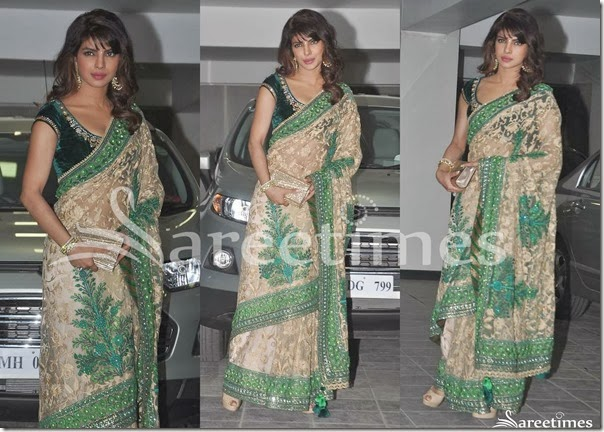 Priyanka_Chopra_Cream_Embellished_Net_Saree