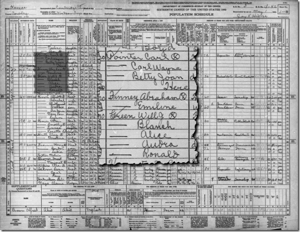 Mike Hall relatives in the 1940 census in Cowley, Kansas