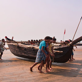 Pushing The Fishing Boat  by Sujoy Roy - Novices Only Street & Candid ( west bengal, india, fishing, boat )