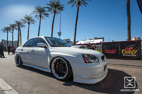 Keith Ozzimo&#039;s 2005 STi sitting on Forge FR10-SC wheels by Forge Wheels. Equipped with AccuAir AMP-2 Air Management Package and e-Level Controller.