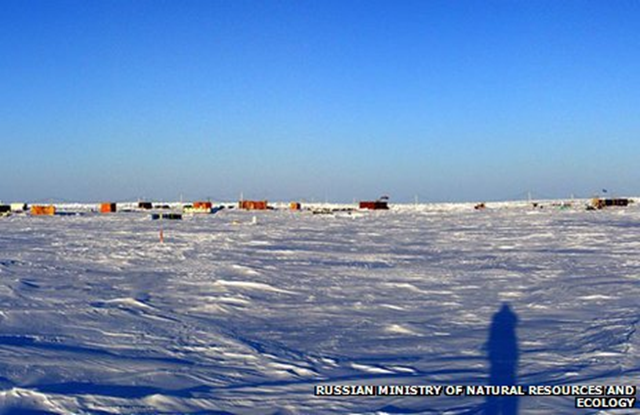 Russia's North Pole 40 (SP-40) research station, drifting on an ice floe near Canada. There are fears the situation could become an emergency amid rapidly declining Arctic ice coverage, and the nuclear ice-breaker 'Yamal' was sent to evacuate the station on 31 May 2013. Photo: Russian Natural Resources Ministry and Ecology