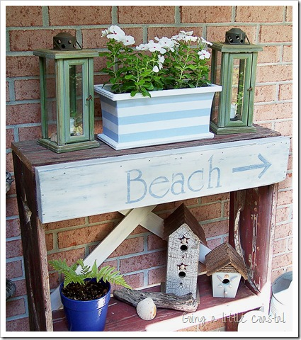 coastal decorations and crafts on porch