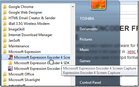 Microsoft Expression Encoder screen capture