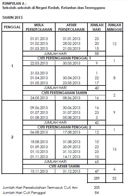 Kalendar Cuti Umum Dan Cuti Sekolah 2013 Malaysia