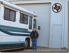 Ferd wait to enter the bay at Motorhomes of Texas.