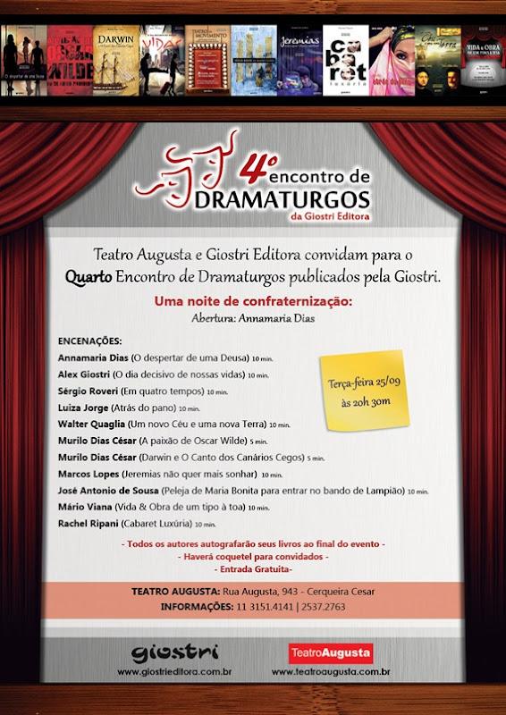 Evento - 4º Encontro de dramaturgos da Giostri editora.